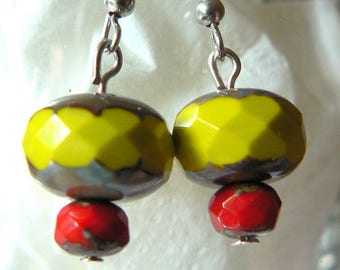 lime green earrings red ceramic bead with facets