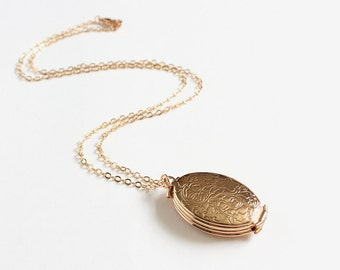 4-Page Oval Gold Locket Necklace