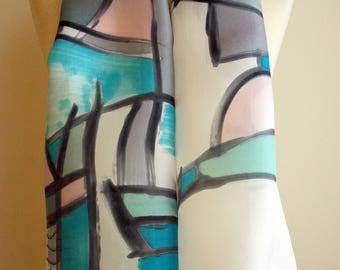 "Hand Painted Silk Scarf. Braque style silk scarf. Hand Painted Silk Shawl.Wedding Gift. Silk Art. 55""x18""  (140x45 cm) Ooak scarves"