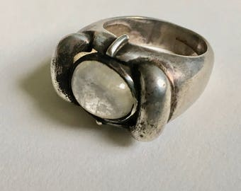 chunky rainbow moonstone sterling ring, size 6.25
