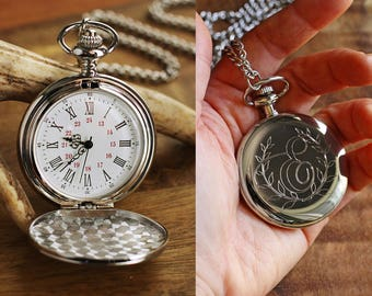 Engraved Silver Pocket Watch, Personalized Groomsmen Gifts - Engraved Wedding Date -Anniversary Gift For Men