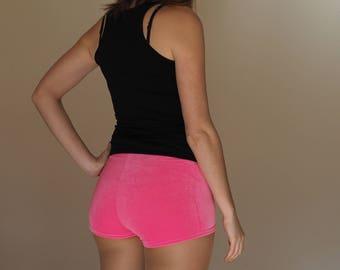 Neon Pink Velvet Roller Derby Shorts