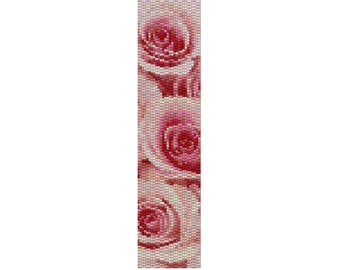 "Peyote Bracelet Pattern Pink Roses ""The Apology"""