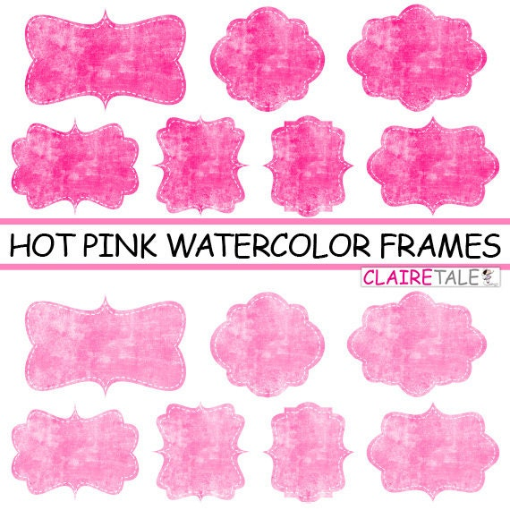 Hot pink watercolor frames, Hot pink watercolor labels, Hot pink watercolor tags, Hot pink watercolor clipart, Hot pink bottle labels