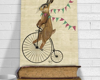 Rabbit Print - Rabbit On Penny Farthing  - Rabbit décor Rabbit Illustration Rabbit Nursery Rabbit Painting woodland decoration kids room