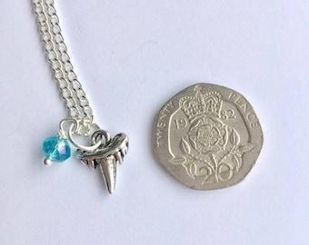 Tiny Shark Tooth Necklace, Charm Necklace, Charm Jewellery, Shark Charm, Shark Jewellery, Marine Life Necklace, Ocean, Shark