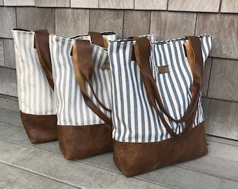 Leather Stripe Tote