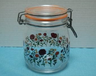 Vintage Glass Canister, Wire Bale Closure, Red and Orange Flowers, Kitchen Storage, Glass Jar, Glass Storage, Kitchen Decor