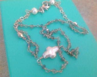 Freshwater Pearl, Pearl Cross Necklace, Sterling Silver,  Wire Wrapped,  Labradorite chain