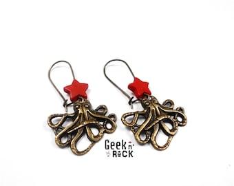 Squid octopus kraken tentacle seabed Octopus steampunk earrings