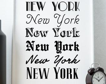 "PRINTABLE Art ""New York, New York"" Typography Art/Design Print, Typography Poster"