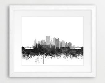 Pittsburgh Skyline Print, Pittsburgh City Wall Art, Pennsylvania Art, Watercolor Grey Black White, Modern Home Decor, Travel, Printable Art