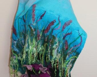 nuno felted,Felted shawl, wool, gift, fibre art, spring, silk