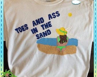 Beach Tshirt Hand Painted