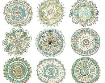 Boho ClipArt Medallion, Bohemian Chic Mandala Clip Art Illustrations, Graphic Element, Decorative Design, PNG Instant Download Embellishment
