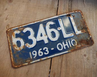License Plates Ohio Vintage 1963 Rustic Blue Garage, Industrial, Man Cave, Pub, Bar Decor, Barn, Wall Hanging, Old Sign Home Decor
