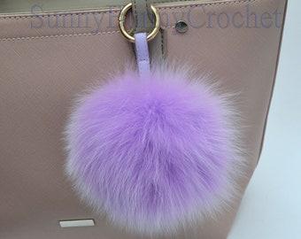 "6"" PURPLE FUR POM Pom Keychain, Large Fox Bag Charm, Key Chain Charm, Fox Fur Pom Pom, Large Pom Pom, Fur Ball, Pendant Fur, Fur Keyring"