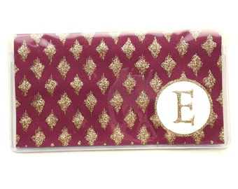 Personalized Checkbook cover - Maroon and Gold Diamond print  - modern simple pastel, geometric glam - customize with an initial or monogram