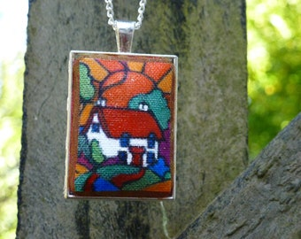 Handmade pendant with hand finished detail of a cottage. Made in Cornwall
