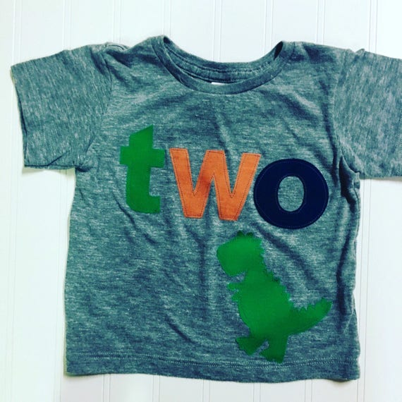 TWO t rex birthday t shirt, boys dino birthday shirt, 2nd birthday dinosaur shirt, navy, orange green boys t shirt, dinomite birthday, two