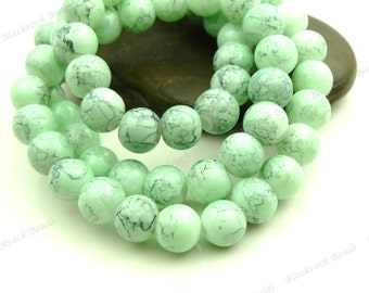 Mint Green and Dark Gray Swirled Round Glass Beads - 6mm Smooth Mottled Beads, Shiny Colorful Bohemian Beads - 32pcs - BL22