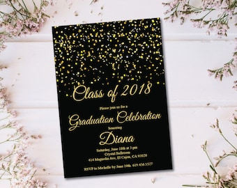 ON SALE -- Class of 2018 Graduation Invitation Card (graduation announcement) - Print at Home or E-card--Black and Gold