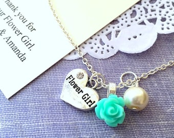 Rose, flowergirl, flower girl, child, necklace. Comes with personalized card and JEWELRY Box.