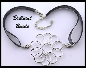 53mm Silver Loopy Flower Stoma Cover Necklace, Laryngectomy Cover Necklace, Tracheostomy Cover Necklace