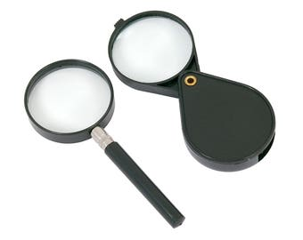 2PC Magnifying Glass With 60mm Diameter Lens - Folding Magnifier Sight Reading Aid CT2354