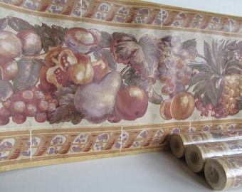 Vintage Wallpaper Boarder Colonial Wall Paper Fruit Border Burgundy Wall decor Wide WallPaper Boarder Mustard Color Dining room Kitchen Wall
