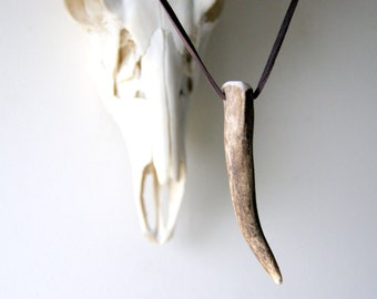 Brown Antler Necklace with brown deerskin cord - natural jewelry
