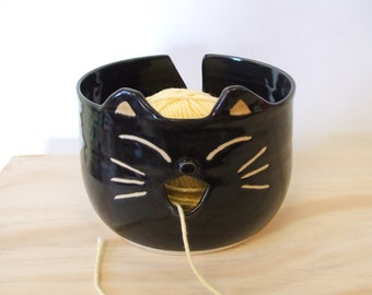 Black Cat Yarn Bowl by misunrie