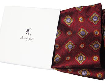 Deep Red English Heritage Silk Pocket Square