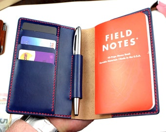 Leather Field Notes cover-Leather Pocket Notebook cover, wallet- Moleskine leather cover- Free Monogrammed initials