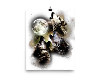 Wolves Howling At The Moon Gift Poster