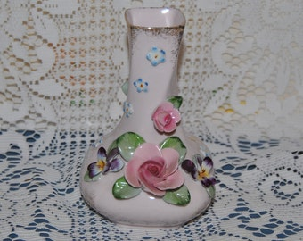 Beautiful Vintage, Hand Painted, L'Amour China (Lefton) Bud Vase / Planter, Made In Japan