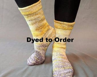 Brass and Steam Impressionist Gradient Matching Socks Set Yarn, dyed to order - pick your size, pick your yarn base