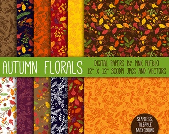 Autumn Flowers Digital Paper Scrapbook Paper, Thanksgiving Laurel Flower Background Pattern - Commercial and Personal Use