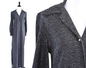CLEARANCE 1970s Silver Metallic Maxi Dress Loll Ease