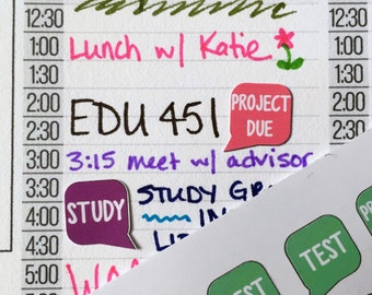 College Planner Stickers / Fits Erin Condren Planners, Happy Planners, Passion Planners & more! / Calendar Stickers