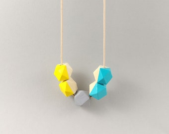 Geometric Necklace - Turquoise, Light Grey & Yellow | Statement Necklace | Gift for her | Geometric Jewellery | Beaded necklace | Minimalist