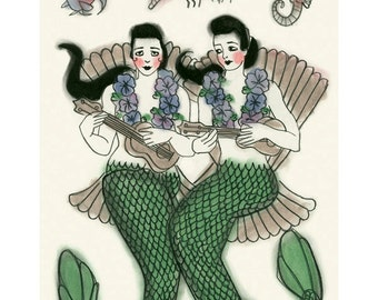 "Mermaid Art - Mermaid Print  - Ukulele Duet  -   8.3"" X 11.7"" mermaids print - 4 for 3 SALE"