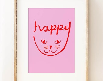Happy Cat print - children's nursery wall art print