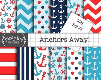 Letter Size Nautical Digital Paper, Anchor Digital Paper, Nautical Digital Scrapbooking Paper, 8.5x11, Blue, Navy, Red, Polka D