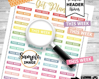 This Week Stickers, Printable Stickers for Planners, Weekly Planner