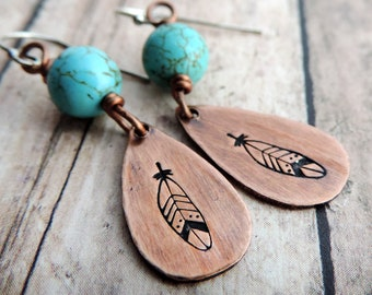 Turquoise and Copper Feather Earrings - Stamped Jewelry - Teardrop Earrings