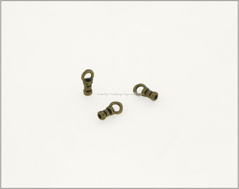 10 pc.+  1mm Crimp End Cap, Crimp Ends, Cord Ends for Leather Cords & Chains - Antique Brass color