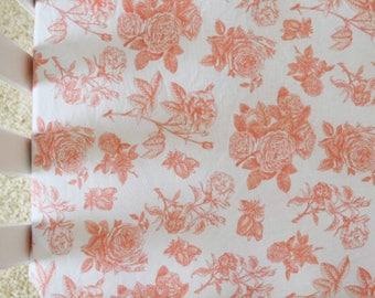 Coral Floral Crib Sheet Crib Bedding