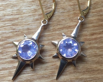 Lavender Moon Quartz and Bronze- North Star Earrings