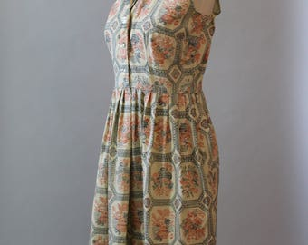 Vintage Dress 50s Cotton Shirtwaist Dress Novelty Print Sleeveless Floral 1950s Mode O Day Cotton Dress M L